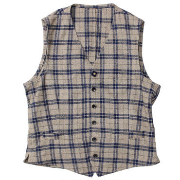 "LARDINI(ラルディーニ)""Cotton Wool Nep Linen Check Gillet"""