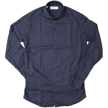 "AGLINI(アリーニ)""Indigo Stretch Wide Collar shirts"""
