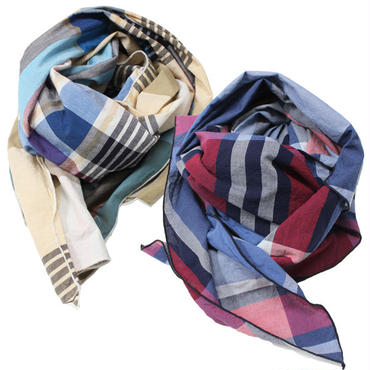 "Engineered Garments(エンジニアード ガーメンツ)""Long Scarf - Big Madras Plaid"""