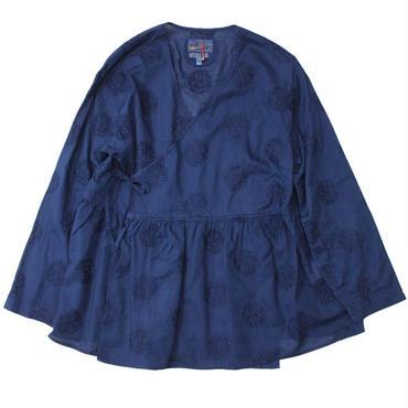 """Ladies' /BLUE BLUE JAPAN(レディース ブルーブルージャパン)""""リーフサークルシシュウ テゾメ カシュクール LSシャツ ウィメンズ"""""""