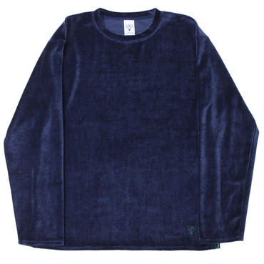 "South2 West8(サウスツーウエストエイト)""Side Slit Crew Neck Shirt - Cotton Velour"""