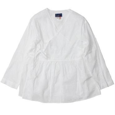 """Ladies' /BLUE BLUE JAPAN(レディース ブルーブルージャパン)""""リーフサークルシシュウ WHITE カシュクール LSシャツ ウィメンズ"""""""