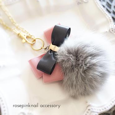 pinkribbon grayfur bag charm