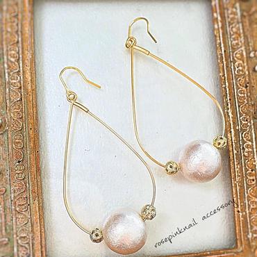 drop hoop cotton pearl pierce