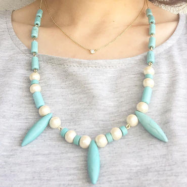 turquoise  cottonpearl necklace