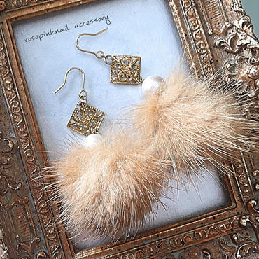 mink fur Perl   petit  pierce
