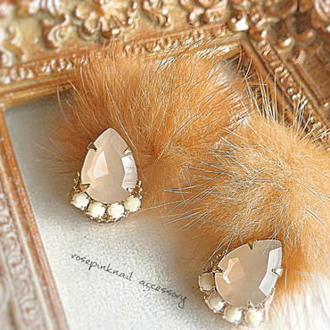 brown  mink fur  pierce