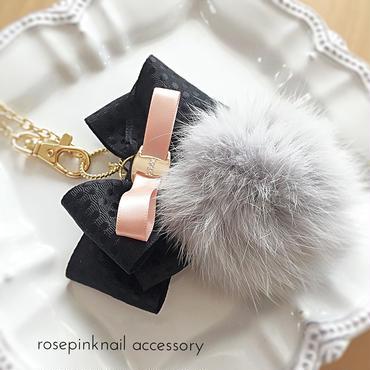 classical fur ribbon  bag charm