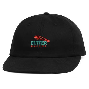BUTTER GOODS RACING 6 PANEL CAP, BLACK