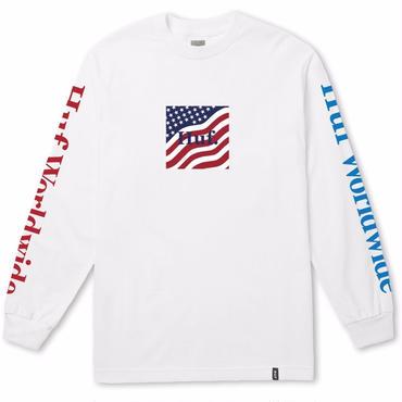 HUF DOMESTIC FLAG L/S TEE-WHITE