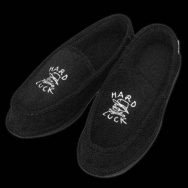 Hard Luck Hard Luck Hard Times House Slippers-Black/White