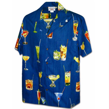 "Pacific Legend Hawaiian Shirts""Cocktail""-NAVY"