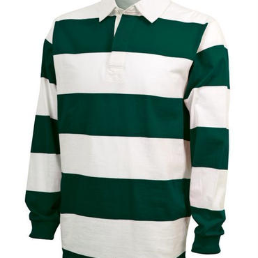 CHARLES RIVER APPAREL CLASSIC RUGBY SHIRT - WHT/GRN