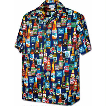 """Pacific Legend Hawaiian Shirts""""Beer""""-Navy"""