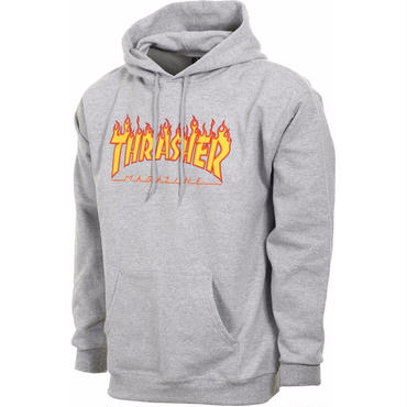 THRASHER FLAME LOGO HOOD - GREY