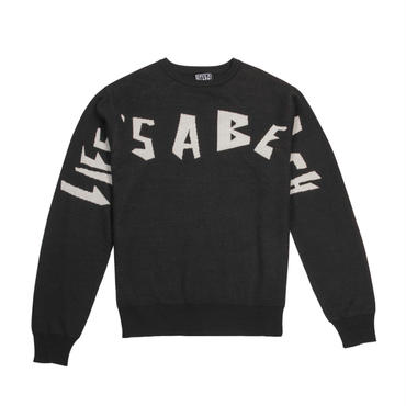 LIFE'S A BEACH LAB LAB Strip Logo Crew-Black