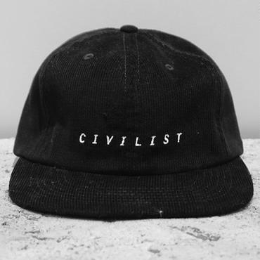 Civilist Corduroy Serif Cap – Black