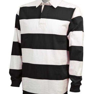 CHARLES RIVER APPAREL CLASSIC RUGBY SHIRT - WHT/BLK