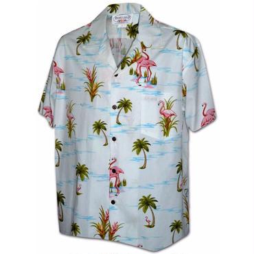 "Pacific Legend Hawaiian Shirts""Flamingo""-White"