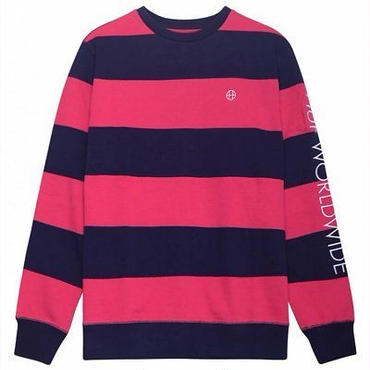 HUF CATALINA STRIPE CREW FLEECE-PINK-