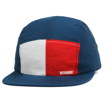 BUTTER GOODS SPLIT 5 PANEL OUTLINE CAMP CAP, NAVY