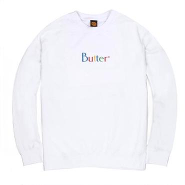BUTTERGOODS WEB EMBROIDERED CLASSIC LOGO CREWNECK-WHITE