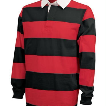 CHARLES RIVER APPAREL CLASSIC RUGBY SHIRT - BLK /RED