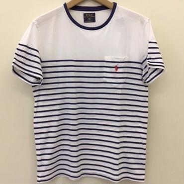 POLO RALPH LAUREN 30/1's  JERSEY-WHITE/YALE/RED #9010