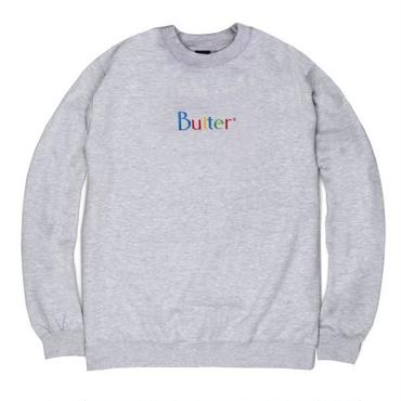 BUTTERGOODS WEB EMBROIDERED CLASSIC LOGO CREWNECK-GRAY
