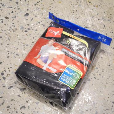 HANES 6pairs cushion crew socks BLACK
