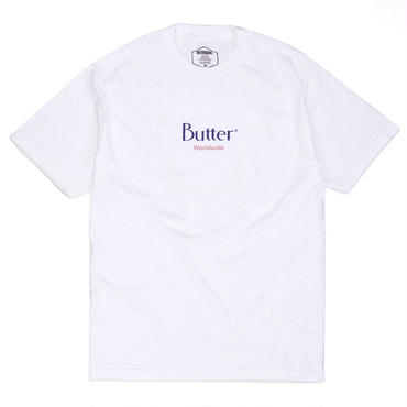 BUTTER GOODS CLASSIC WORLDWIDE LOGO TEE, WHITE