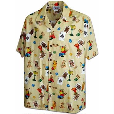 "Pacific Legend Hawaiian Shirts""Cards""-Khaki"