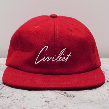 Civilist Melton Script Cap – Carmine Red