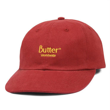 BUTTER GOODS CLASSIC LOGO CORD 6 PANEL CAP-BURGUNDY