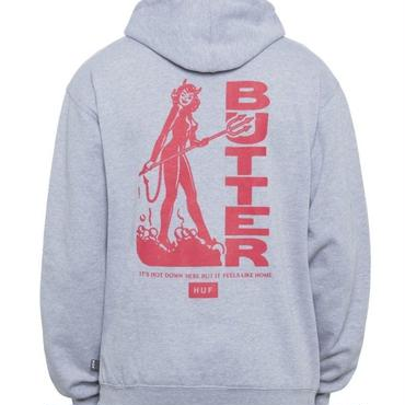 HUF X BUTTER GOODS DEVIL PULLOVER HOODIE - HEATHER GREY