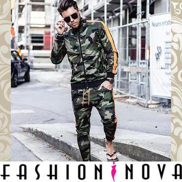 即納【Fashion Nova】カモフラージュサイドライントラックジャケット