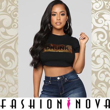 【Fashion Nova】ゴールドスパンコールドランクティーシャツ