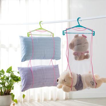 枕やぬいぐるみをハンガーにぶら下げられる 乾燥ネット