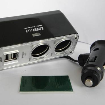 シガーソケット2連増設+USB充電器