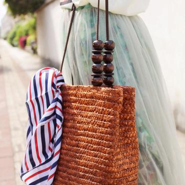 スカーフ付きかごバッグ ナチュラルスタイル
