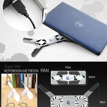 ファン式ノートPCクーラー+USBミニ扇風機2個セット