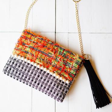 手織りのオリジナル生地で作った、ショルダー&クラッチ2wayバッグ(ビタミン)