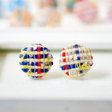 手織り生地のピアス/イヤリング(シャイニーネイビー)