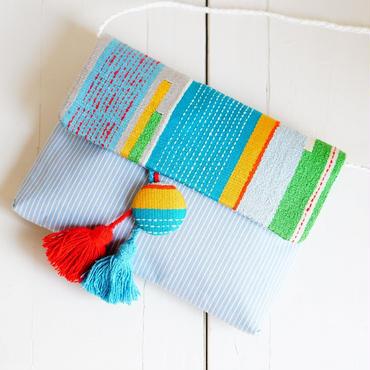 カラフル!シルクの手織り生地&タッセル付きショルダーバッグ