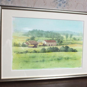 田園の風(ドイツ南部)水彩画