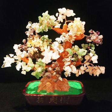 昇運招財!福と財運を高める天然石のお花が咲いた【五行招財樹】(M)