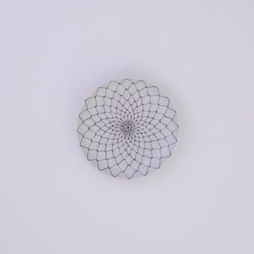 九谷焼 赤絵・黒絵網目文様 小皿(4号)Knitted Stitch ( Large )