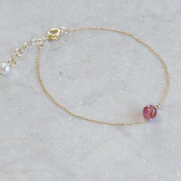 宝石質の一粒ピンクトルマリンブレスレット