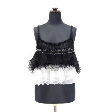 Ruffled Camisole <Black×White / Black×Violet>