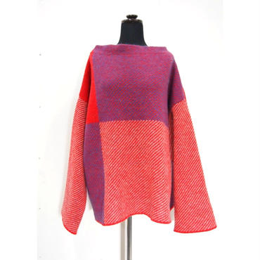 Combination knit <Red×Blue> _ Unisex